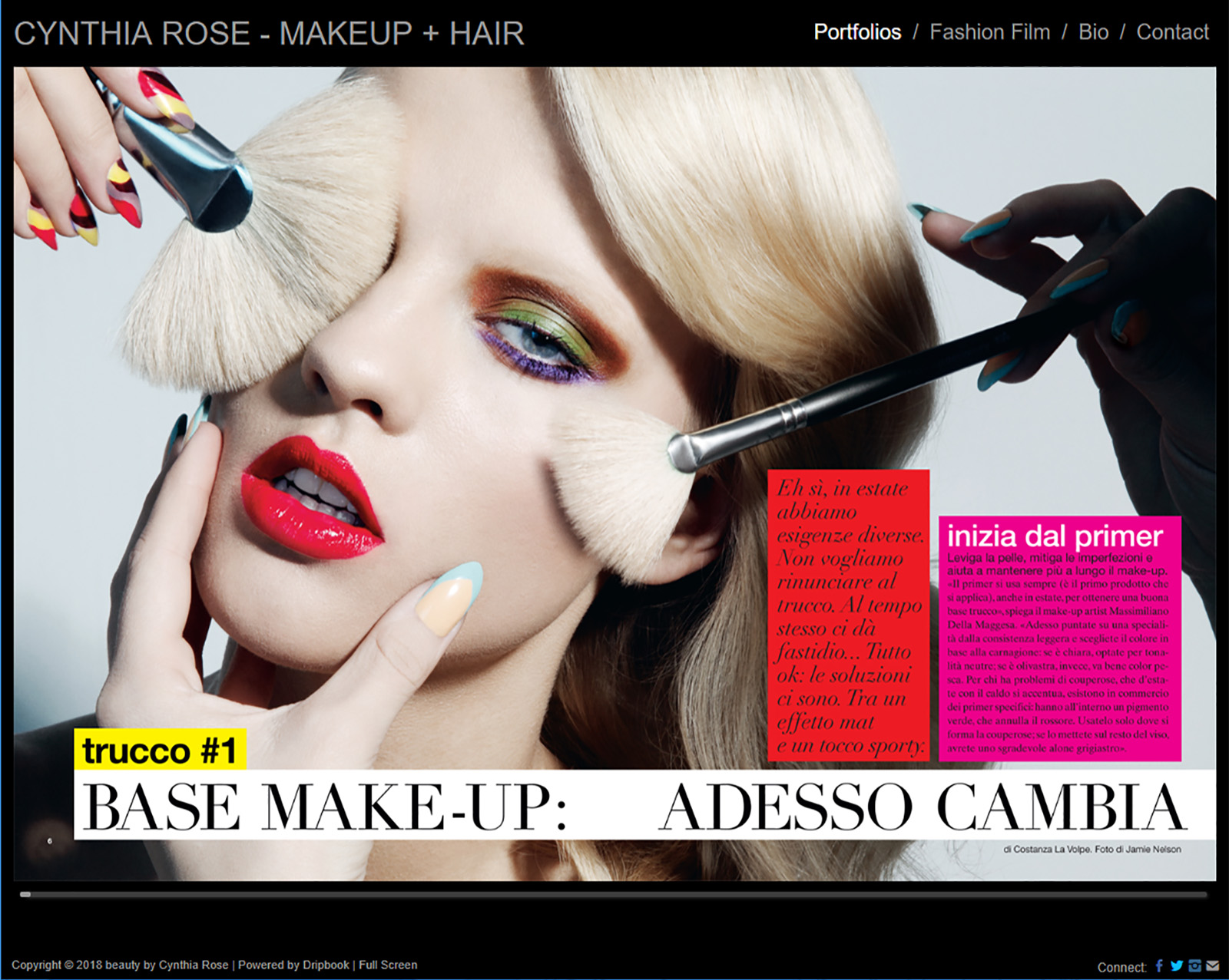 screen capture of makeup & hair artist Cynthia Rose's website