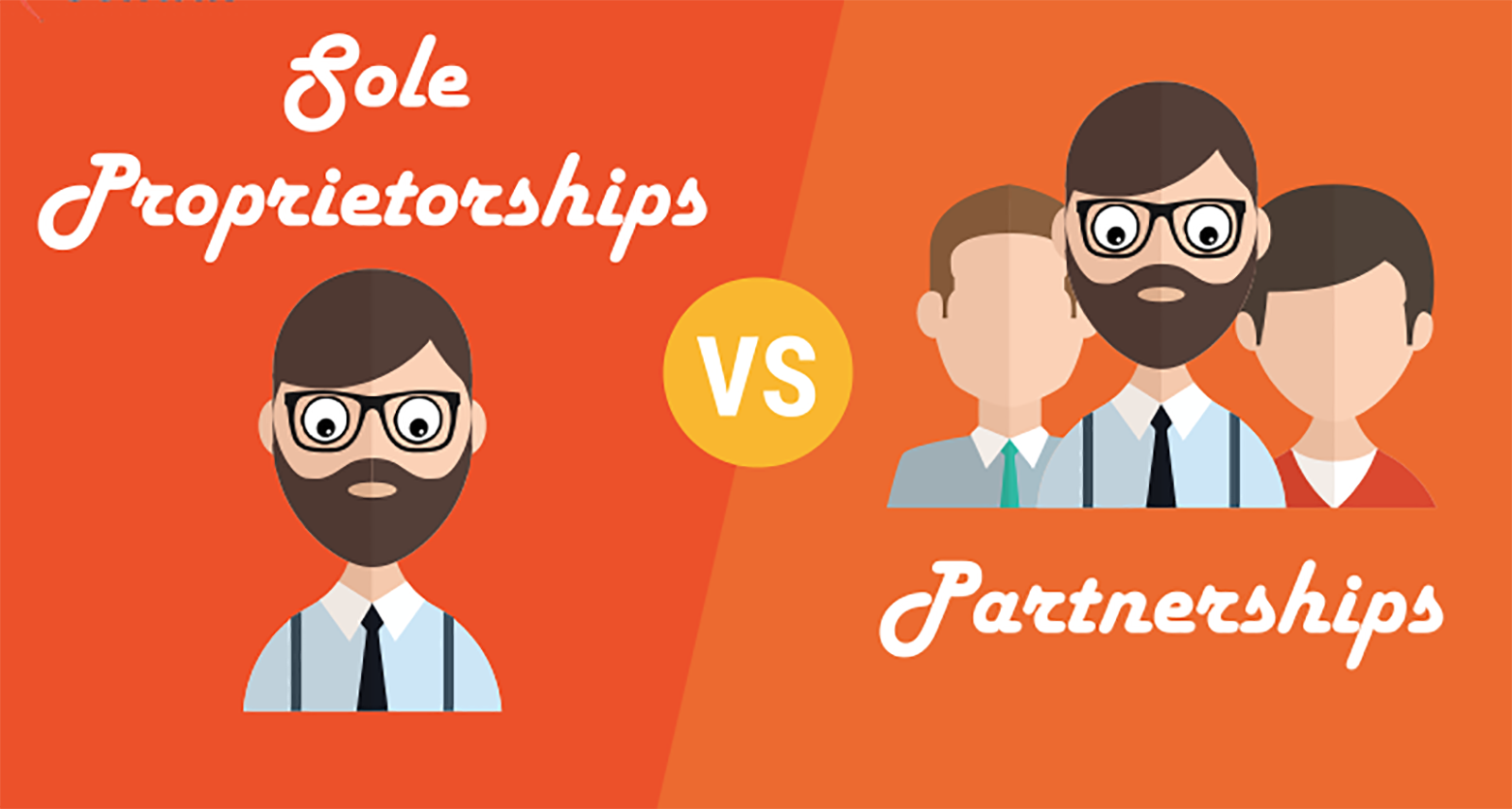 image comparing Sole Proprietorshioops to Partnerships
