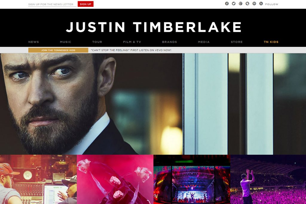 screen capture of the home page of JustinTimberlake.com
