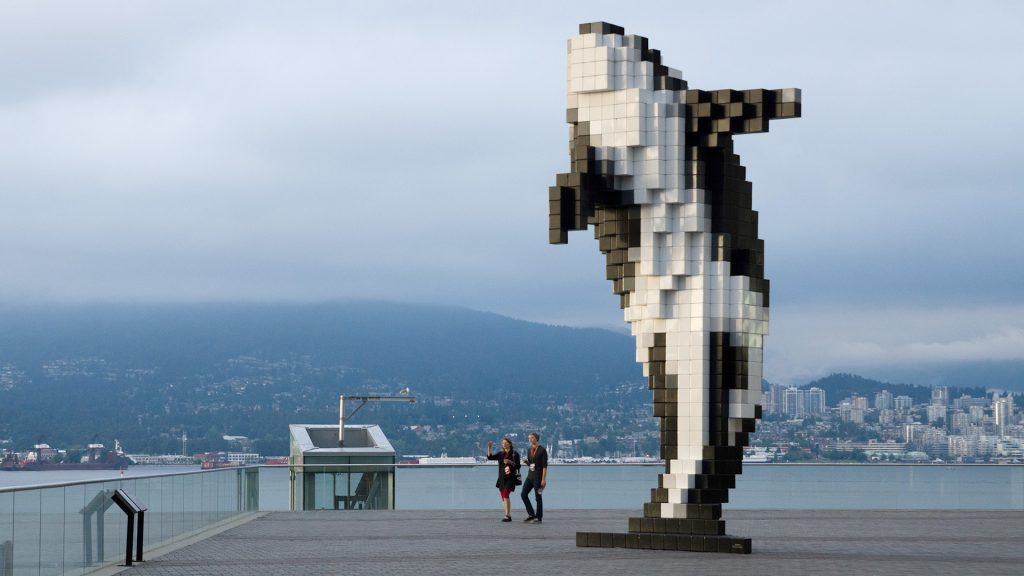 "Douglas Coupland's sculpture ""Digital Orca"" at the Vancouver Convention Center"