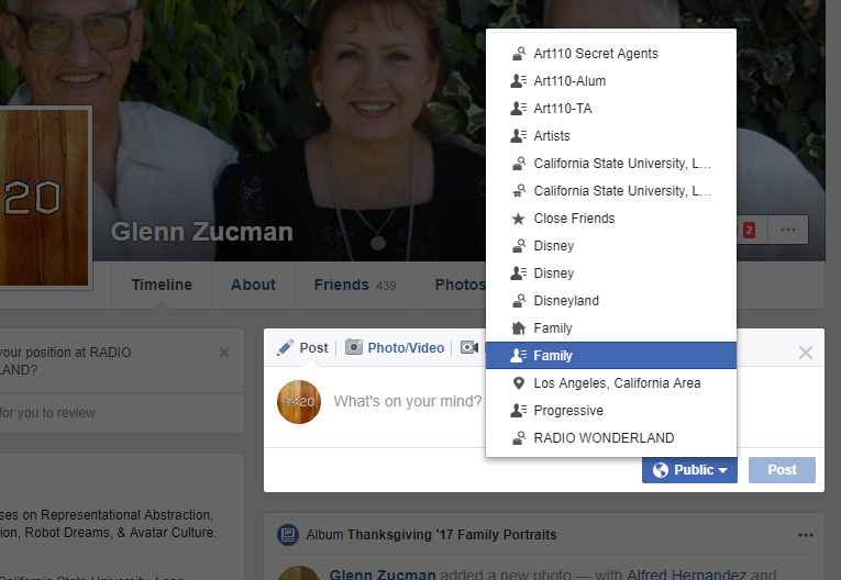 screen capture of showing how to select a specific Friends List for a Facebook post