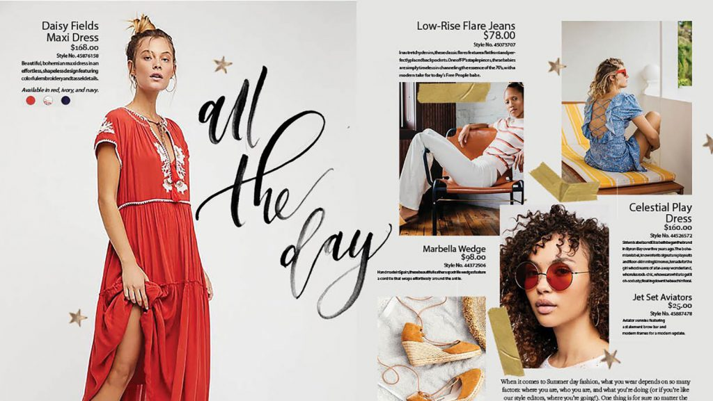 "calligraphy of the words ""all the day"" as used in a fashion catalog spread"
